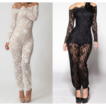 Nouveau design Floral Lace Body Lining Off Shoulder Sexy Black Lace Jumpsuit