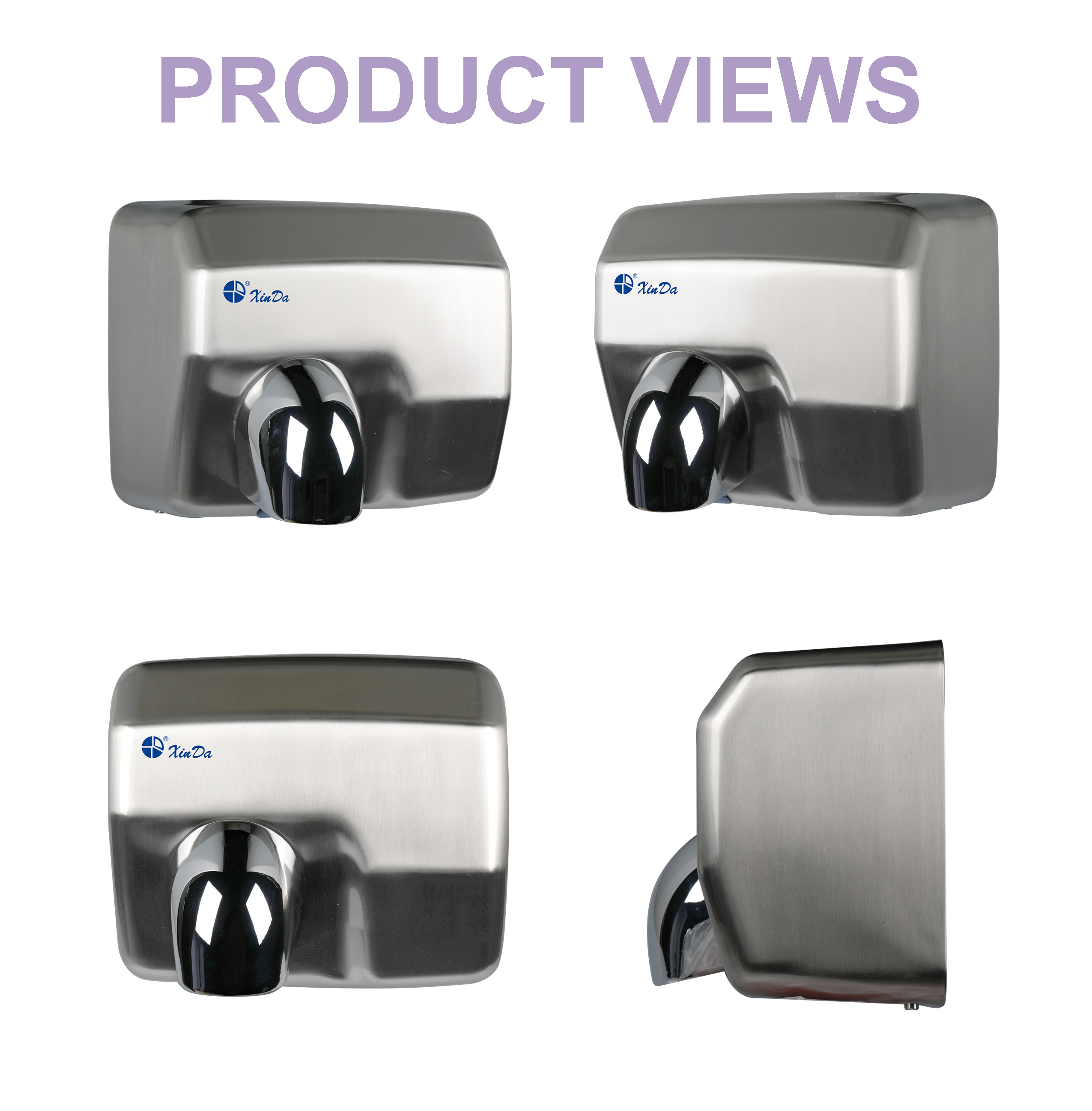 Commercial brushed hand dryer