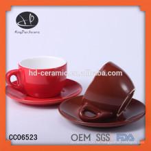 Espressotasse-Set, bunte Keramik-Kaffeetasse und Untertasse-Set, Steingut-Cup und Untertasse