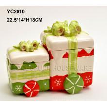 Pintado a mano caja de regalo de Navidad de cerámica Conjoined