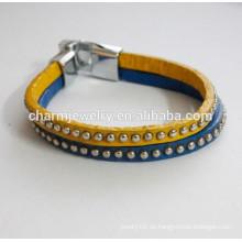 Vogue Pulsera de cuero de cuero de pulsera de doble color con pulsera studs PSL030