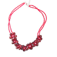 Luxury Handmade Red Faceted Zirconia Flower Statement Necklace For Party or Show