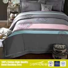 Mezcla de colores populares gris y rosa 40s * 40s sábana ajustable sábana de hojas planas