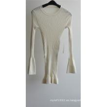100% lana mujeres cuello redondo suéter de punto