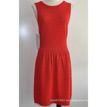 Rayón / Nylon Señoras de cuello redondo vestido de moda de punto