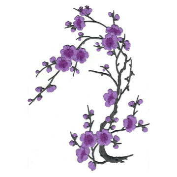 Violett Cherry Blossom Flowers Broderad Patch