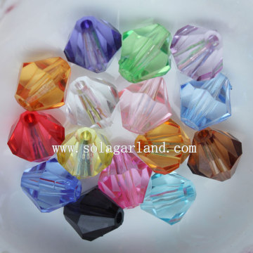 Clear Acrylic Faceted Bicone Spacer Pony Beads