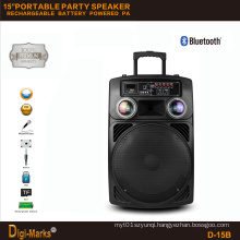 15′′ Mobile Party DJ LED Karaoke Trolley Bluetooth Active Speaker