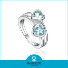 Fashion 925 Silver Wedding Heart-Shape Crystal Ring Jewelry Wholesale (R-0360)