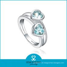 Moda 925 casamento de prata em forma de coração anel de cristal jóias por atacado (R-0360)