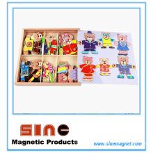 Seis osos se visten con ropa de cambio magnético de madera, juguetes tridimensionales