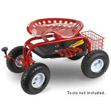 Garden Seat Cart with Four Wheels