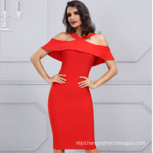 Ladies Party Dress with Sleeveless Red Dress Shoulder Dress