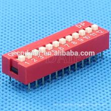 Interruptor de deslizamiento de plástico de posición Daier 1 ~ 12, interruptor de inmersión de 12 posiciones *