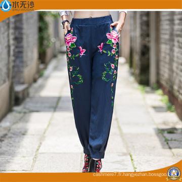 Pantalons de broderie en coton pour femmes