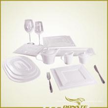 15 PCS White Porcelain Tableware Set Embossed Pearl Series