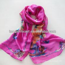 2014 New fabric satin chiffon oblong scarf