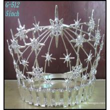 La joyería de plata de la joyería de la joyería del desfile de la tiara de las muchachas grandes de la tiara del desfile de la corona del Rhinestone grande