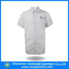China fabrica una camisa de vestir blanca a rayas para hombres
