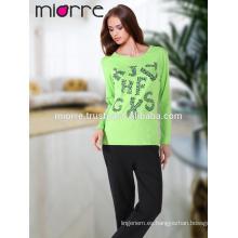 MIORRE OEM algodón turco de calidad lindo color de pistacho impreso pijama pijamas conjunto