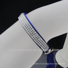 Venta al por mayor 4 filas de cristal satén cinta brazaletes 2014 broches para pulsera de cuero