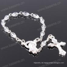 Handgefertigte Kette Weiß 11 Kristall Perlen Chaplet