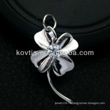 Женщины любимой формы цветок стерлингового серебра 925 кулон