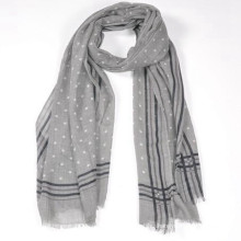 best fashion women love grey color print polka dots 180*70cm long wide size cashmere wool shawl merino wool scarf