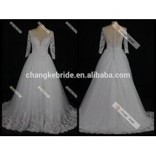 Vestido nupcial de manga larga por encargo 2017 vea detrás el vestido nupcial del vestido de boda trasero