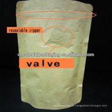 Sacos de embalagem de folha de alumínio com válvula / stand up kraft papel zíper calor selo bolsa 250g