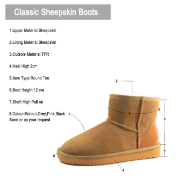 Classic Genuine Australian Sheepskin Snow Boots for Women