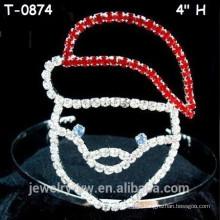 Venda Por Atacado acessórios para crianças de cabelo vermelho strass coroa de Natal