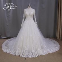 Топ продаж сексуальный v-образным вырезом прозрачные кружева свадебное платье 2016
