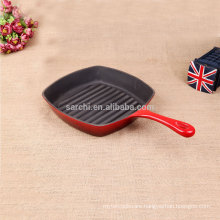 2016 hot sale household or restaurant color enamel cast iron grill plate