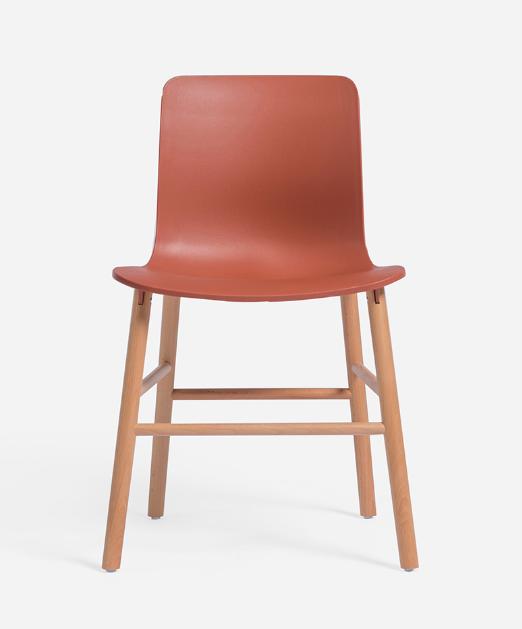 plastic chair with beech leg