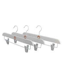 Custom Logo Brand Clip White Wood Dress Skirt display Pants Hangers Gold Hooks