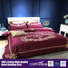 Cubierta de edredón de algodón de hotel de lujo, cubiertas de cama Queen Size