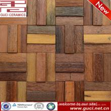 Mosaico de baixo custo para telha de parede de madeira na decoração da casa