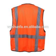 Security Roadway Yellow Mesh Detachable Tear Away Zipper Amercian EN20471 Class 3 High Visibility Reflective Safety Vest