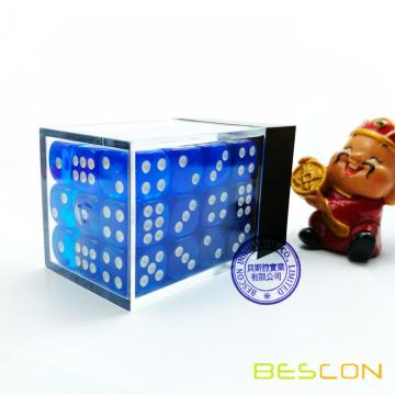 Bescon 12mm 6 Sided Dice 36 in Brick Box, 12mm Six Sided Die (36) Block of Dice, Translucent Blue with White Pips