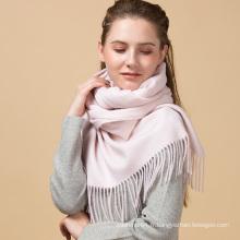 Fashional hiver lady couleur rose solide personnalisé 100% écharpe en cachemire