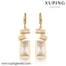 91315-Xuping Fashion Rectangle Design spécial Drop boucles d'oreilles bijoux avec cristal