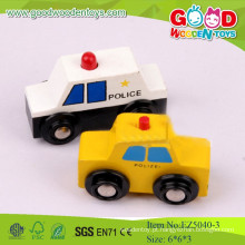 2015 Wholesale Police Modelo Car, Yellow And White Color, Wooden Mini Toy Car