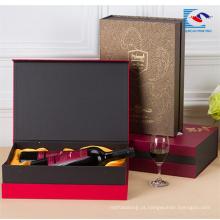 Venda quente caixa de presente de vinho de papelão personalizado para 2 garrafas com ímã