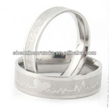 Fashion jewelry heart silver couples rings stainless steel ring