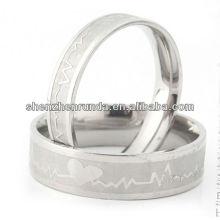 Jóia de moda coração prata casais anéis de aço inoxidável anel