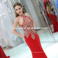 Vestido largo de noche sin tirantes de la nueva llegada de las mujeres atractivas del color rojo sin mangas del halter