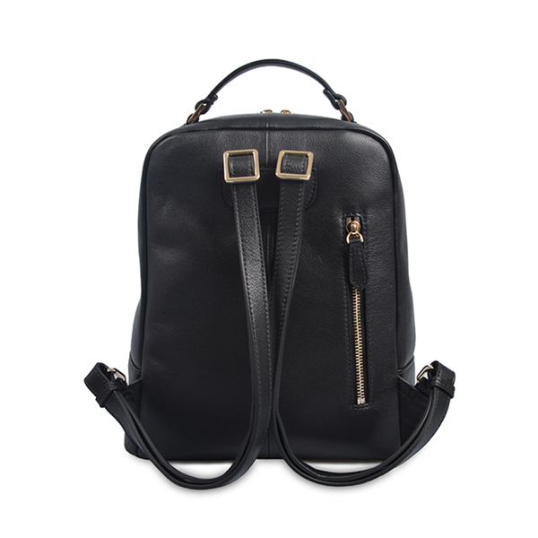black luxury handmade women mens genuine leather backpack