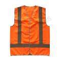 Chaleco de seguridad reflectante de cierre de velcro naranja con cinta reflectante cruzada en la parte posterior