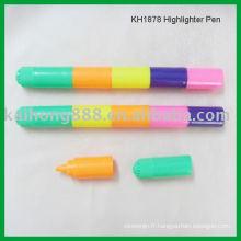 Cinq couleurs dans un surligneur